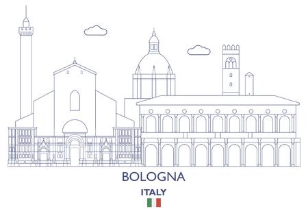 イタリア ・ ボローニャ線形都市スカイライン  イラスト・ベクター素材