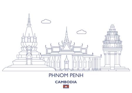 カンボジア ・ プノンペン線形都市スカイライン  イラスト・ベクター素材
