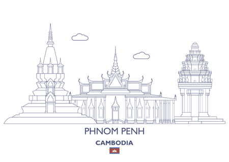 Lineare Stadtskyline von Phnom Penh, Kambodscha Standard-Bild - 88798743