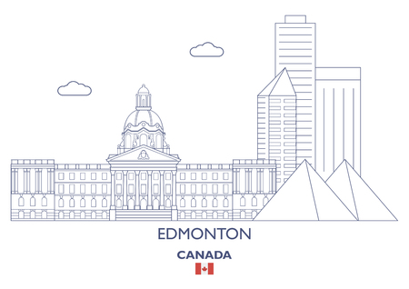 Edmonton Linear City Skyline, Canada Illustration