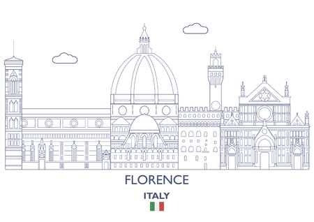 Florence linear city skyline, Italy vector illustration.
