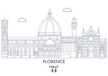 Florence linear city skyline, Italy vector illustration.