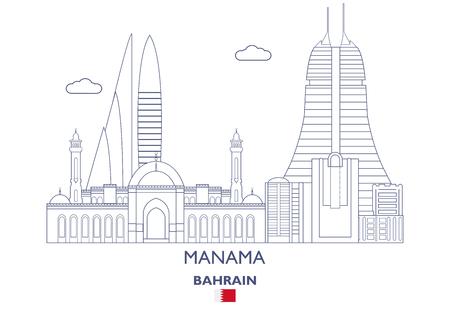 Manama linear city skyline, Bahrain vector illustration.