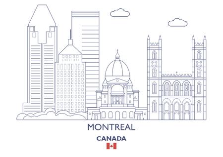 Montreal Linear City Skyline, Canada Illustration