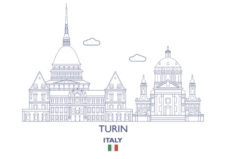 Turin linear city skyline, Italy vector illustration.