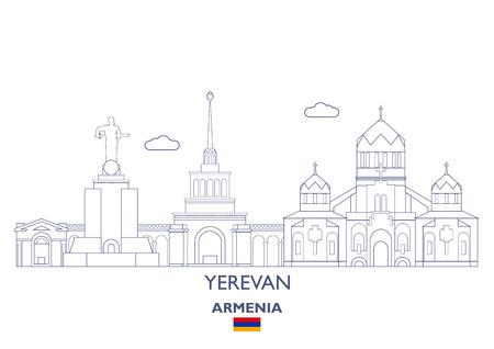 Yerevan Linear City Skyline, Armenia Stock Vector - 89595909