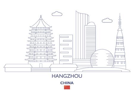 Hangzhou lineaire stadshorizon, China Stock Illustratie