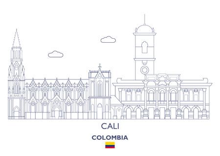 Cali Linear City Skyline, Colombia Ilustração