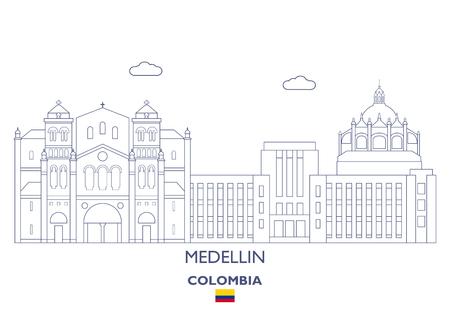 Medellin Linear City Skyline, Colombia Illustration