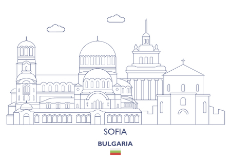 Sofia Linear City Skyline, Bulgaria Illustration