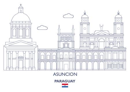 Asuncion City Skyline, Paraguay Vector illustration.