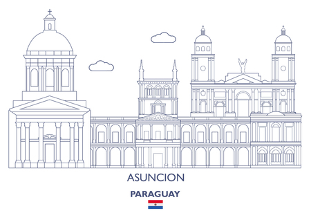 Asuncion City Skyline, Paraguay Vector illustration. Illustration