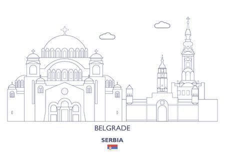 Belgrade City Skyline, Serbia Vector illustration.