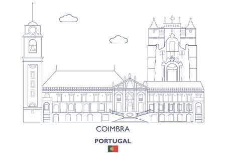Coimbra City Skyline, Portugal Vector illustration. Vector Illustration