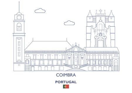 Coimbra City Skyline, Portugal Vector illustration. Illustration