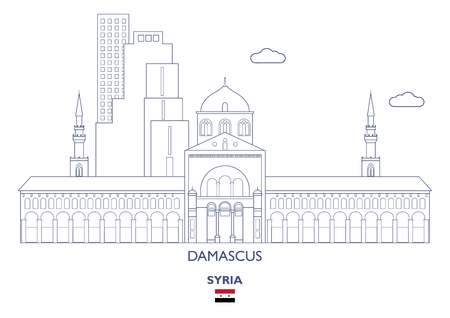 Damascus Linear City Skyline, Syria Ilustração