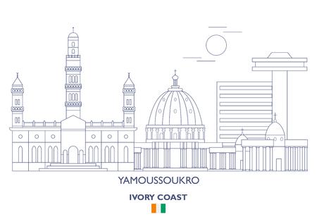 Yamoussoukro Linear City Skyline, Ivory Coast Banque d'images - 94385479