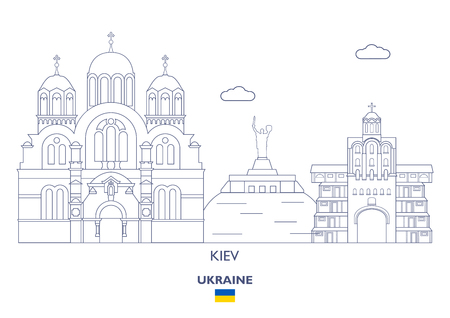 Kiev Linear City Skyline, Ukraine Иллюстрация