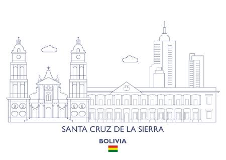 サンタ クルス デ ラ シエラ リニア シティ スカイライン, ボリビア  イラスト・ベクター素材