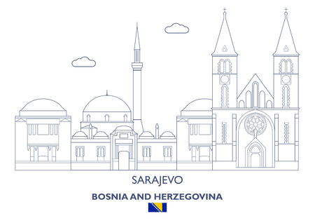 Sarajevo Linear City Skyline, Bosnia and Herzegovina Illustration
