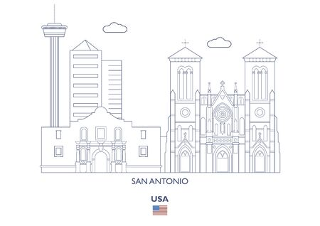 San Antonio Linear City Skyline, USA Vector illustration. 일러스트