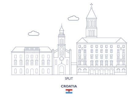 Split Linear City Skyline, Croatia Vector illustration.