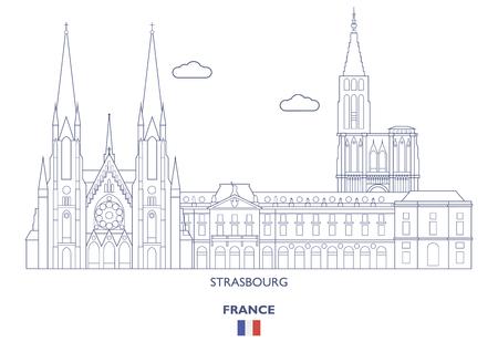 Strasbourg Linear City Skyline, France Vector illustration.