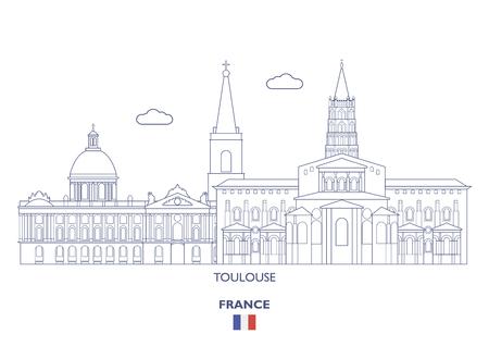 Toulouse Linear City Skyline, France Vector illustration. Ilustração
