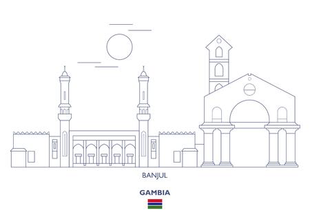 Banjul Linear City Skyline, Gambia 일러스트