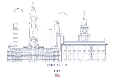 Philadelphia Linear City Skyline, USA 일러스트