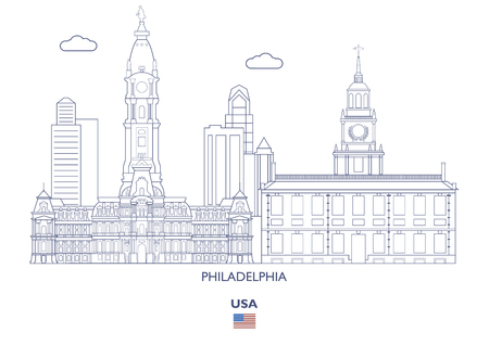 Philadelphia Linear City Skyline, USA Illustration