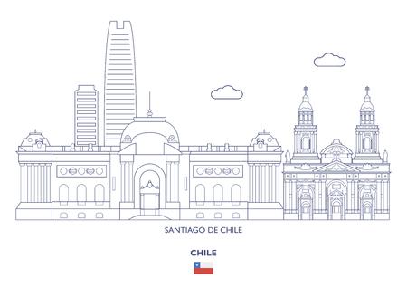 Santiago De Chile Linear City Skyline, Chile