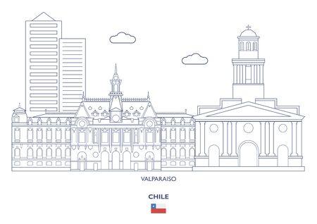 Valparaiso Linear City Skyline, Chile 일러스트