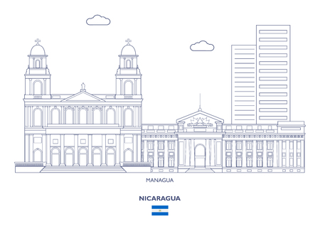 Managua Linear City Skyline, Nicaragua 일러스트