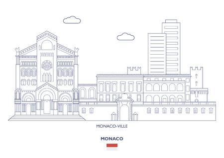 Monaco-Ville Linear City Skyline, Monaco Illustration