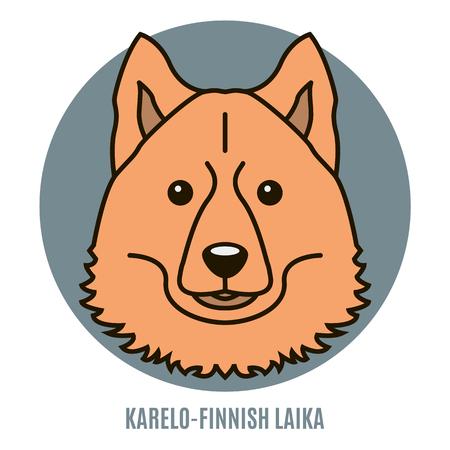 Portrait of Karelo-Finnish Laika. Style of flat