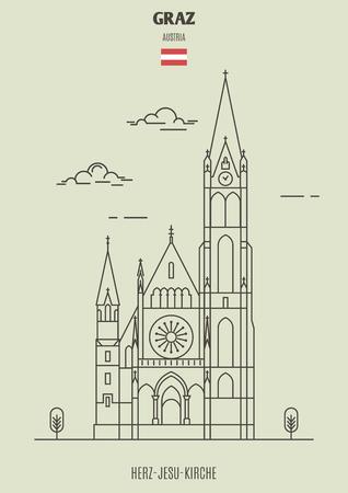 Herz-Jesu-Kirche in Graz, Austria. Landmark icon in linear style Illustration