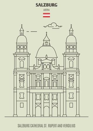 Cathédrale de Salzbourg St. Rupert et Vergilius, Autriche. Icône de point de repère dans un style linéaire