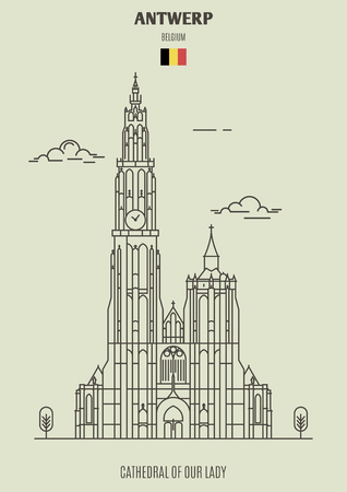 Cathedral of Our Lady in Antwerp, Belgium. Landmark icon in linear style  イラスト・ベクター素材