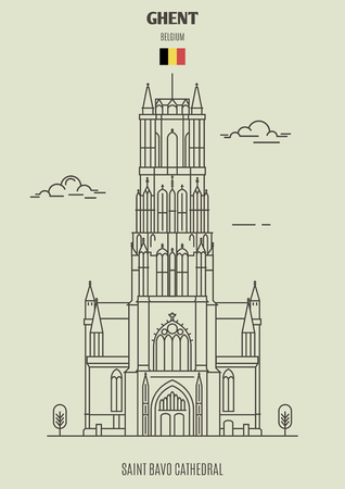 Saint Bavo Cathedral in Ghent, Belgium. Landmark icon in linear style