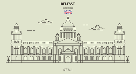 City Hall in Belfast, UK. Landmark icon in linear style