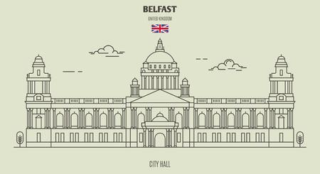City Hall in Belfast, UK. Landmark icon in linear style Illustration