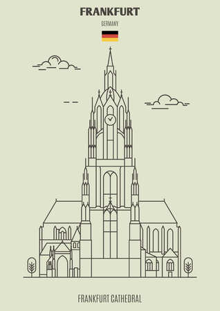 Frankfurt Cathedral in Frankfurt, Germany. Landmark icon in linear style Ilustração