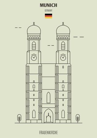 Frauenkirche in Munich, Germany. Landmark icon in linear style