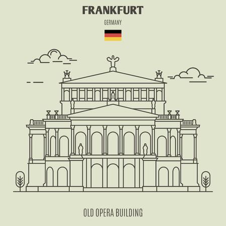 Old Opera building in Frankfurt, Germany. Landmark icon in linear style