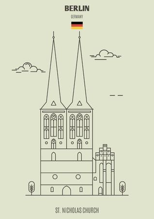 St. Nicholas Church in Berlin, Germany. Landmark icon in linear style