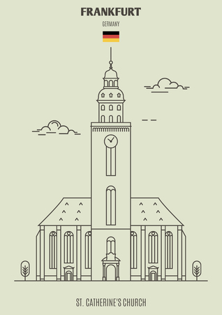 St. Catherine's Church in Frankfurt, Germany. Landmark icon in linear style