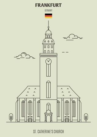 St. Catherine's Church in Frankfurt, Germany. Landmark icon in linear style