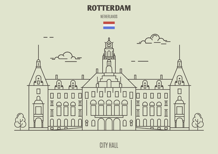 City Hall in Rotterdam, Netherlands. Landmark icon in linear style