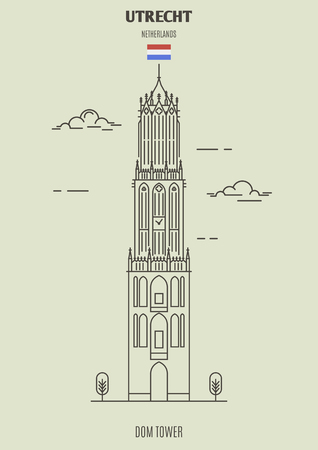 Dom Tower in Utrecht, Netherlands. Landmark icon in linear style